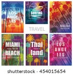 exotic travel backgrounds with... | Shutterstock . vector #454015654