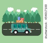 travel car campsite place... | Shutterstock .eps vector #454017100