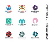 abstract logo icons design ... | Shutterstock .eps vector #454018360