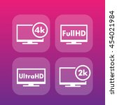 high definition icons  full hd  ... | Shutterstock .eps vector #454021984
