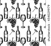 vector illustration  wine set ... | Shutterstock .eps vector #454029979
