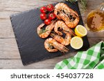 Grilled Shrimps On Stone Plate...