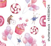 watercolor circus seamless... | Shutterstock . vector #454038424