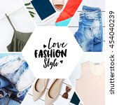 collection collage of stylish... | Shutterstock . vector #454040239