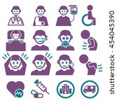 sick  ailing icon set | Shutterstock .eps vector #454045390