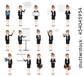set of business woman with job... | Shutterstock .eps vector #454045954