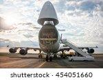 unloading wide body cargo... | Shutterstock . vector #454051660