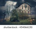 dark mysterious halloween... | Shutterstock . vector #454066150