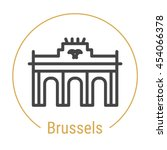 brussels  belgium  outline icon ... | Shutterstock .eps vector #454066378