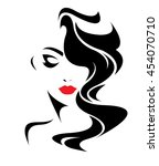 women long hair style icon ... | Shutterstock .eps vector #454070710