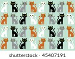 cartoon cats seamless pattern | Shutterstock .eps vector #45407191