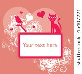 pink valentine grungy cat and... | Shutterstock .eps vector #45407221