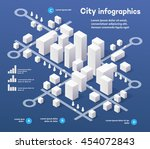 3d city isometric three... | Shutterstock .eps vector #454072843