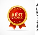 best choice label. gold metal... | Shutterstock .eps vector #454075294