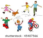 children playing in the... | Shutterstock .eps vector #45407566