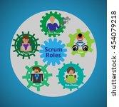 illustration of scrum roles ... | Shutterstock .eps vector #454079218