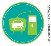 electric car icon with plug and ... | Shutterstock .eps vector #454079230