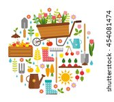 gardening. big vector set. cart ... | Shutterstock .eps vector #454081474