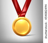 gold medal isolated on a grey... | Shutterstock .eps vector #454082494