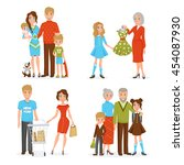 happy big family decorative... | Shutterstock .eps vector #454087930