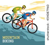 mountain biking vector... | Shutterstock .eps vector #454087960