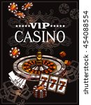 vip casino poster with roulette ... | Shutterstock .eps vector #454088554