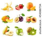 fresh fruits and berries...   Shutterstock .eps vector #454088734