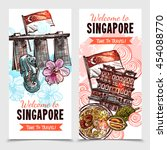 singapore vertical banners in... | Shutterstock .eps vector #454088770