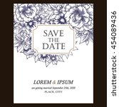 invitation with floral... | Shutterstock . vector #454089436