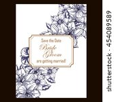 invitation with floral...   Shutterstock . vector #454089589