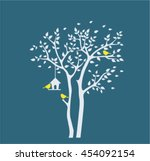 Silhouette Autumn Tree With...