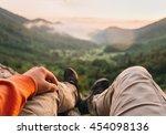 male traveler sitting in summer ... | Shutterstock . vector #454098136