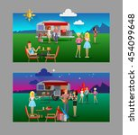 cool vector day and night... | Shutterstock .eps vector #454099648