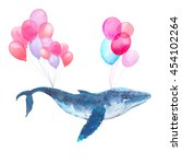watercolor blue whale flying on ... | Shutterstock . vector #454102264