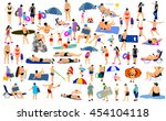sunny day on the beach vector... | Shutterstock .eps vector #454104118