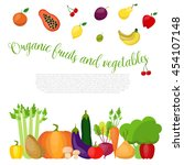 organic vegetables and fruits... | Shutterstock .eps vector #454107148