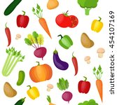 vegetables pattern. modern flat ... | Shutterstock .eps vector #454107169