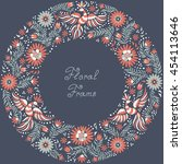 mexican embroidery round...   Shutterstock . vector #454113646