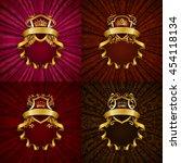 set of elegant golden frame... | Shutterstock .eps vector #454118134