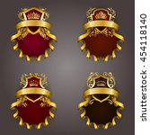 set of golden royal shields for ... | Shutterstock .eps vector #454118140