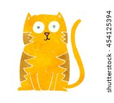 freehand retro cartoon cat | Shutterstock . vector #454125394