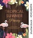 bright hawaiian design with... | Shutterstock .eps vector #454148494