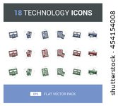 18 technology flat vector icon...