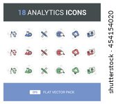 18 analytics flat vector icon...