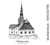 vintage vector sketch tile old... | Shutterstock .eps vector #454156798