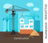 house construction with... | Shutterstock .eps vector #454157710