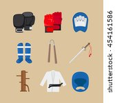 martial arts icons or combat... | Shutterstock .eps vector #454161586