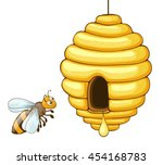 bee flying and beehive with... | Shutterstock .eps vector #454168783