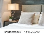 hotel style bedding with white... | Shutterstock . vector #454170640