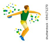 athlete throwing the discus in... | Shutterstock .eps vector #454171270